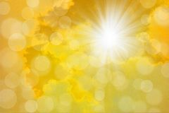 Dreamy sun rays golden bright yellow sky. With orbs illustration Stock Images
