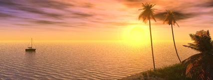 Dreamy sunset. 3d sunset Royalty Free Stock Photography