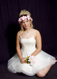 Dreamy Teen Blonde Girl - Party Dress - Flowers Royalty Free Stock Photo