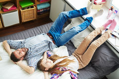 Dreamy teenage girl and her dad Stock Photography