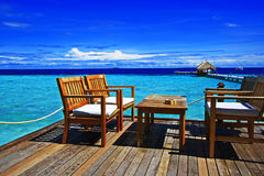 Dreamy terrace maldives. Comfortly beach bar terrace at eriyadu island in north male atoll maldives Stock Image