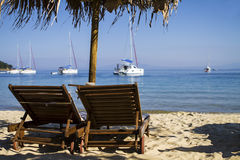 Dreamy view on he beach. Dreamy view on he beach with the luxury boat in the background Royalty Free Stock Photo