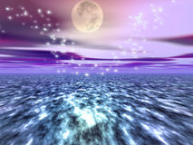 Dreamy Waters 6. A digitally created image of a beautiful ocean with dreamy sparkles Royalty Free Stock Image