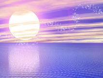 Dreamy Waters 8. A digitally created image of a beautiful ocean with dreamy sparkles Royalty Free Stock Images