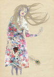 Dreamy woman. Woman in colorful dress (dreamy beauty) - hand drawing using digital tablet, vintage processing Royalty Free Stock Photos