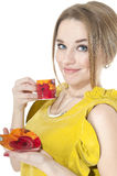 Dreamy woman with cup of coffee on a plate Stock Photography