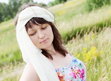 Dreamy Woman on the Meadow Portrait Stock Photography