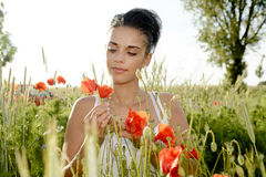 Dreamy woman with poppy Stock Photo
