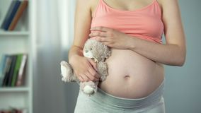 Dreamy woman with pregnant belly hugging toy bear tenderly, surrogate mother. Stock footage stock video