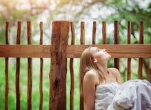 Dreamy woman on spa resort Royalty Free Stock Photo