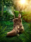 Boot house. Dreamy wood with a boot house Royalty Free Stock Photo