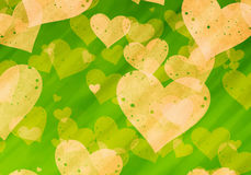 Dreamy yellow hearts on green backgrounds of Love symbol Royalty Free Stock Photos