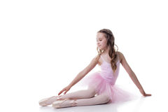 Dreamy young ballerina isolated on white backdrop Stock Images