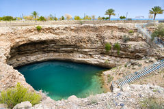 Dreckloch Bimmah Oman lizenzfreie stockfotografie