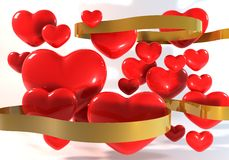 3dRed与金丝带的心脏 免版税库存图片