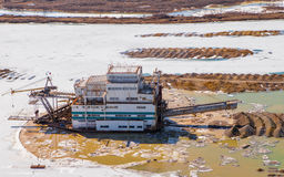 Dredge extracts gold Royalty Free Stock Images