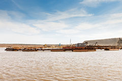 Dredge on the lake Royalty Free Stock Photos