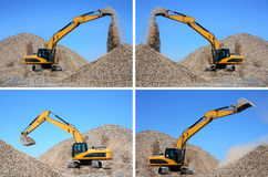 Dredge loads gravel. Set of images. Royalty Free Stock Photography