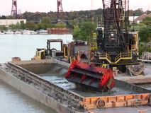 Dredge the Sledge. Dredging sledge in the Black River, Lorain Ohio Royalty Free Stock Photos