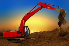 Dredgeat della costruzione al tramonto Immagine Stock Libera da Diritti