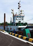 Dredger. In harbour Stock Photos