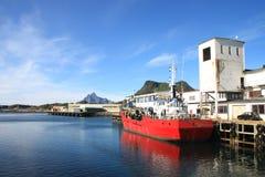 Dredger boat of Svolvaer in Lofoten royalty free stock photo