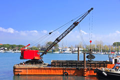 Dredger in harbor Royalty Free Stock Photo