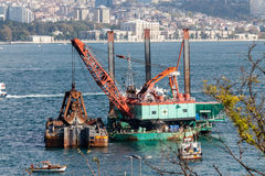 Dredger in operation in the Bosphorus Istambul Stock Image