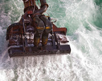 Dredger at sea. A trailing suction hopper dredger at sea dredging royalty free stock image