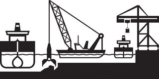 Dredger ship deepens port. Vector illustration Stock Photo