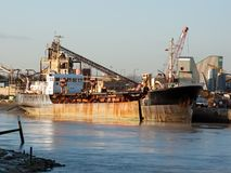 Dredger ship in dock Stock Photos