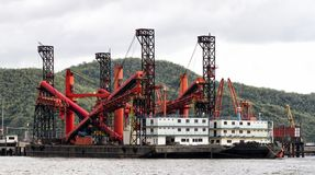 Dredger ship at the harbour Royalty Free Stock Photography