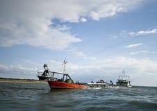 Dredger ship on ocean Stock Photos