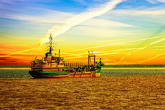 Dredger ship in port Royalty Free Stock Photo