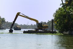 Dredger and spoil barge Stock Photos