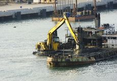 Dredger and spoil barge Stock Image