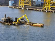 Dredger and spoil barge Royalty Free Stock Image