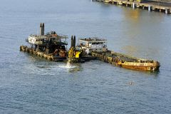 Dredger and spoil barge Stock Images