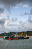 Dredger vessel in the river Stock Photography