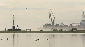 Dredger Working on the Fraser River stock video footage