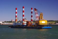 Dredger working at Puerto, Mar Del Plata, Argentina Royalty Free Stock Photography