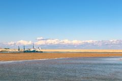 Channel Dredging Barge on the central coast of New South Wales stock photography