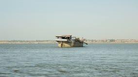 Dredging boat, river dredging, sand, extraction stock footage