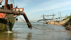 Dredging boat, river dredging, sand, extraction stock video