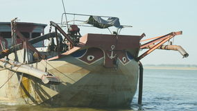 Dredging boat, river dredging, sand, extraction stock video footage