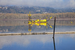 Dredging boats in the Columbia River. Royalty Free Stock Image