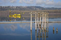 Dredging boats in the Columbia River. Stock Photo