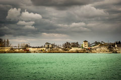 Dredging a lake in Whyl am Kaiserstuhl stock photo