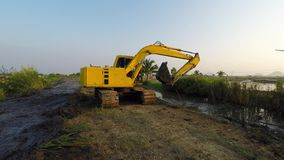 Dredging machine stock video footage