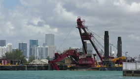 Dredging near the port of Miami stock footage